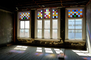 Stained glass windows facing Gay St